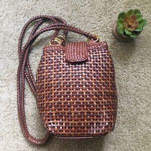 Boho Vtg Faux Leather Woven Satchel Shoulder Bag